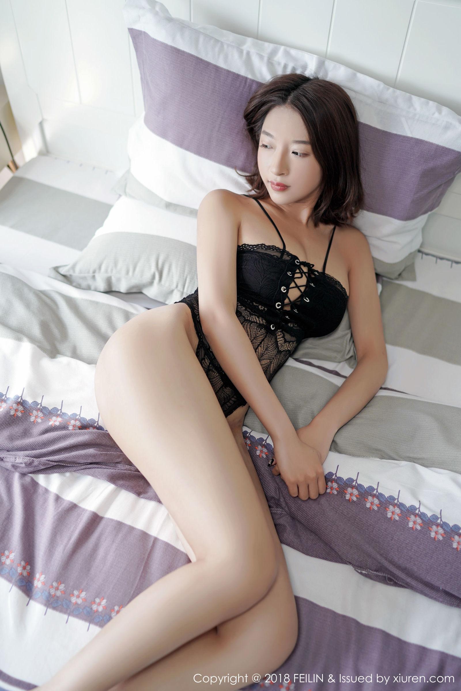 [FEILIN嗲囡囡] VOL.146 栗子Riz - 蕾丝内衣丝袜美图[49P]