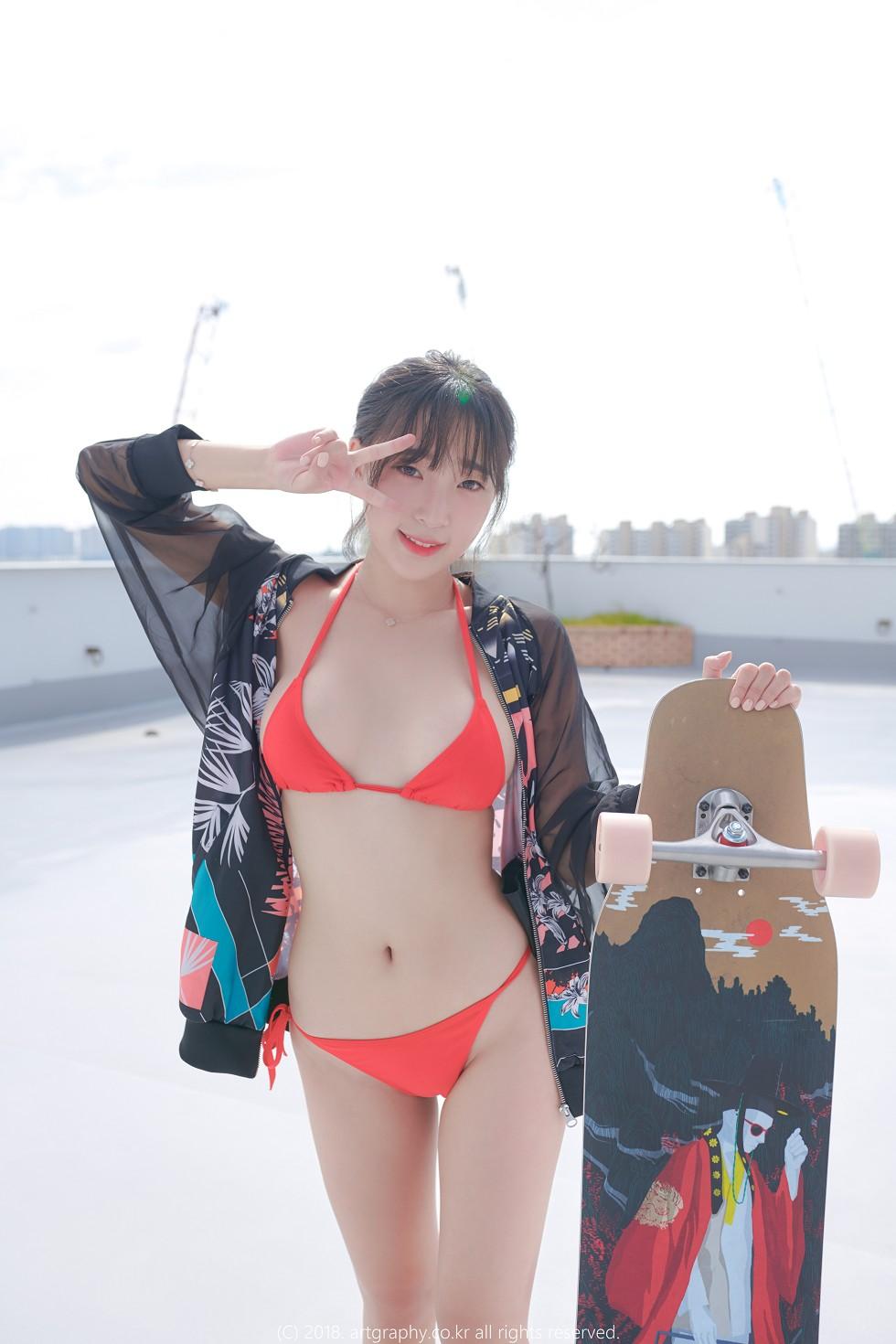 韩国人气模特姜仁卿户外红色比基尼+私房真空露背毛衣惹火诱惑写真49P